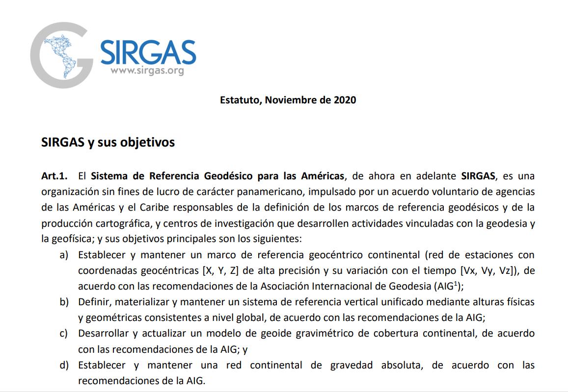 Novo estatuto SIRGAS e Resoluções SIRGAS 2020
