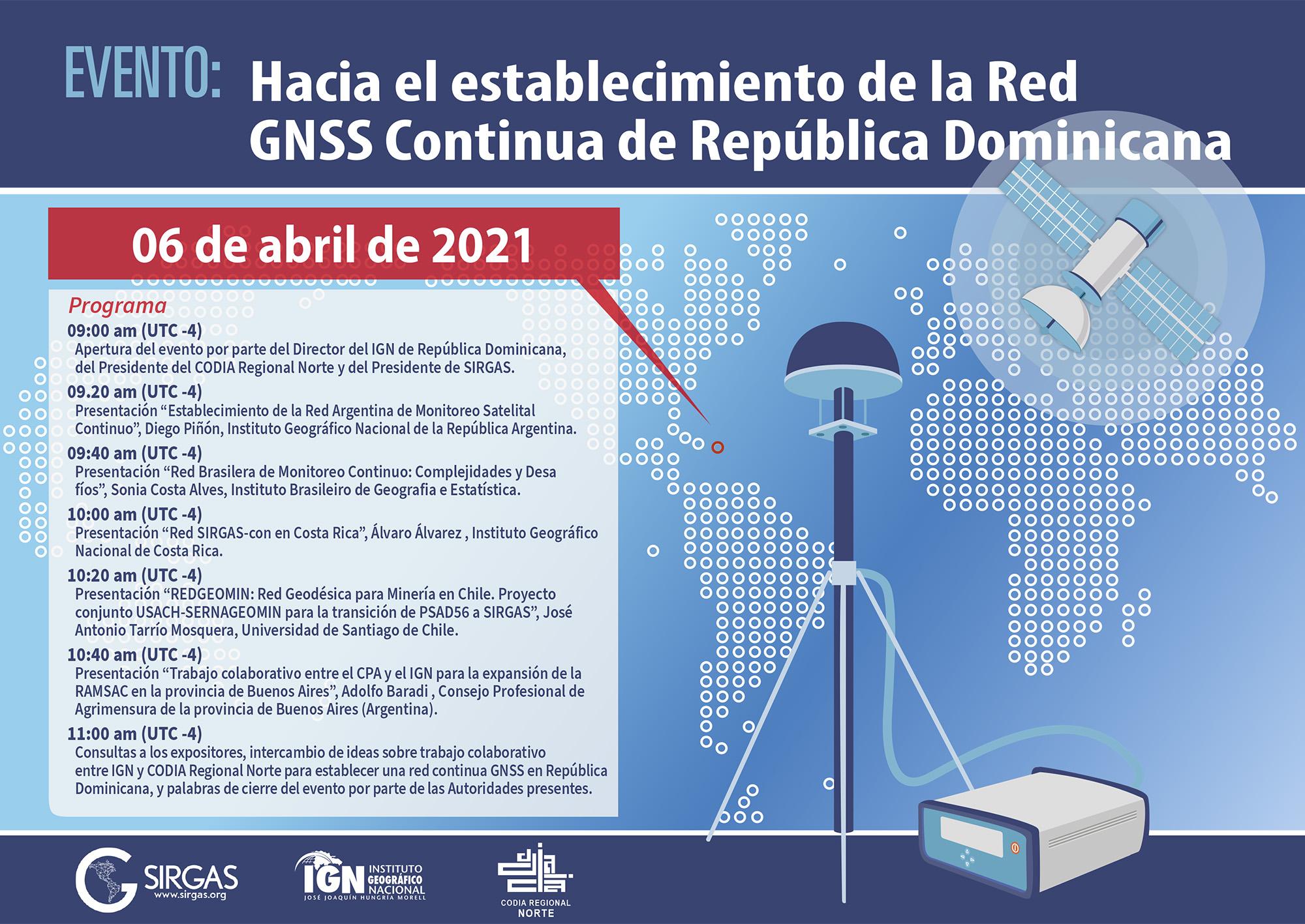 Evento: Rumo ao estabelecimento da Rede GNSS Contínua da República Dominicana